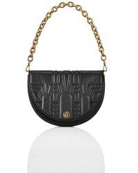 Shanghai Tang Half Moon Leather 2-way Crossbody Bag - Black