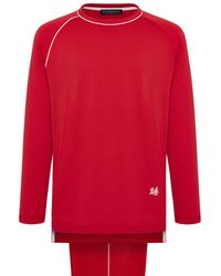 Shanghai Tang Cotton Jersey Pajama Lounge Set With Pouch - Red