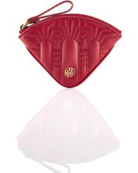 Shanghai Tang Half Moon Leather Quarter Coin Purse - Red