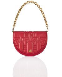 Shanghai Tang Half Moon Leather 2-way Crossbody Bag - Red