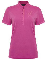 Shanghai Tang Tonal Bird Embroidery Slim Fit Polo Shirt - Pink