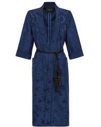 Shanghai Tang Bamboo Jacquard Satin Kimono Robe - Blue