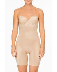 Spanx Strapless Cupped Mid-Thigh Bodysuit - Natur
