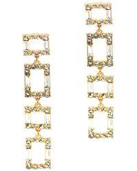 She Sparklez Boutique Square Rhinestone Drop Earring - Metallic