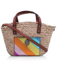 Kurt Geiger Rainbow Kensington Raffia Small Shopper Bag - Multicolour