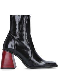 Kurt Geiger Patent Flared Heel Boots - Black