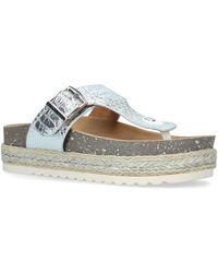 Moda In Pelle 'wilow' Mid Flatform T-bar Sandals - Metallic
