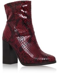 4615d8722d6 Slither Wine Snake Print Ankle Boots - Red