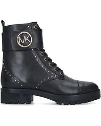 MICHAEL Michael Kors Tatum Logo-embellished Leather Combat Boots - Black