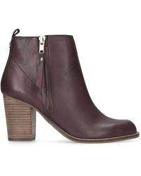 10f64419f72 Tanga Wine Leather Mid Heel Ankle Boots - Red