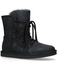 8be37720816 Lodge Black Leather Ankle Boots Lace Up Boots Snow Boots