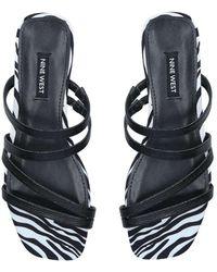 Nine West Black Strappy Fat Sandals - Multicolour