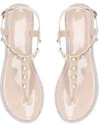 Miss Kg Blush Embellished Flat Jelly Sandals - Natural