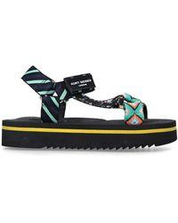 Kurt Geiger Black Patterned Embellished Sporty Sandals - Green
