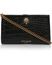 Kurt Geiger Croc Effect Cross Body Bag - Black