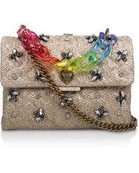 Kurt Geiger Rainbow Chain Raffia Embellishment Shoulder Bag - Multicolour
