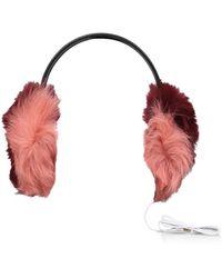 UGG Multi Fur Leather Earmuff No Heel Ladies Accessories Pink