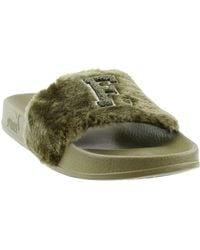 ad5754b86 PUMA Fenty By Rihanna Leadcat Faux Fur Slide in Gray - Lyst