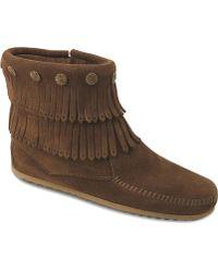 Minnetonka - Double Fringe Side Zip Boot - Lyst