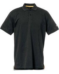 Caterpillar Mens Classic Cotton Polo Button Down Shirt - Black