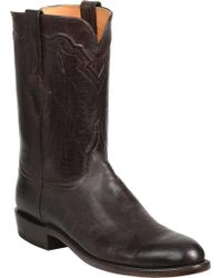 Lucchese Bootmaker Tanner R Toe Cowboy Boot - Brown