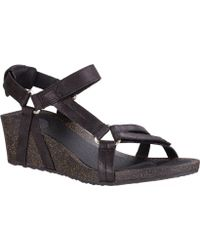 8a40f1909a4a Lyst - Teva Braided Suede Thong Sandals in Black