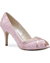 Paradox London Pink Cherie Lace Peep Toe Shoes - Pink