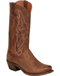 Lucchese Bootmaker M3105 Squared Off Toe Cowboy Heel Boot - Brown