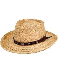 San Diego Hat Company - Raffia Gambler Fedora W  Faux Leather Band Rhm6100  - Lyst c3909d4e05ba