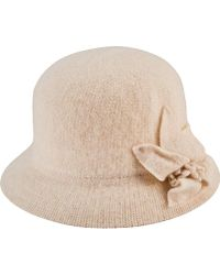 0dec18d0 Aqua Straw Cloche Hat With Bow Back in Natural - Lyst