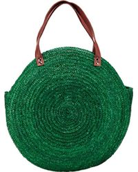 San Diego Hat Company Round Wheat Straw Tote Bag Bsb1747 - Green