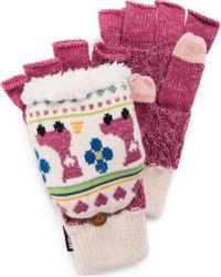 Muk Luks Fingerless Flip Mitten - Pink