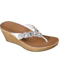 d7f7a4f55bb4 Lyst - Skechers Beverlee Bizzy Babe Wedge Sandal in White
