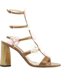 Zac Posen Claire Organza Flower Leather Heeled Sandal - Multicolor