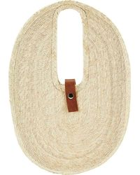 San Diego Hat Company Palms Straw Oval Tote Bag Bsb3718 - Natural