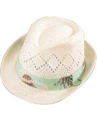 79e69bad Lyst - Calvin Klein Striped Vented Sun Hat in Natural