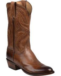 Lucchese Bootmaker Knox 6 Toe Cowboy Boot - Brown