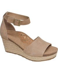 44a452adc7a Aetrex - Miley Perforated Espadrille Wedge Sandal - Lyst