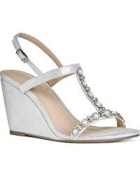 Paradox London Pink Kiana High Heel Wedge T Strap Sandal - Metallic