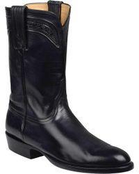 Lucchese Bootmaker Sumter R Toe Cowboy Boot - Black