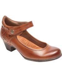 Rockport Cobb Hill Abbott Ankle Strap Mary Jane - Brown