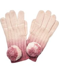 San Diego Hat Company Ombre Dye Knit Glove With Pom Kng3516 - Pink