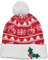 San Diego Hat Company - Snowman & Applique Christmas Beanie Knh3448 - Lyst