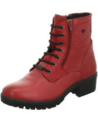 Black Lace-up Boots - Red