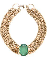 RIXO London Solange Gold Plated And Emerald - Metallic