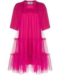 MSGM Gathered-tulle T-shirt Dress - Pink