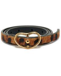 Lizzie Fortunato Skinny Georgia Belt In Dark Leopard - Brown