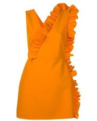 MSGM | Fitted Sleeveless Ruffle Dress | Lyst