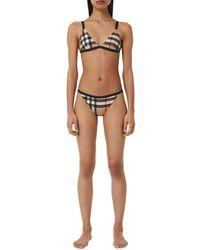 Burberry Check Print Triangle Bikini, Archive Beige - Multicolor
