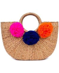 Jade Tribe - Multicolor Pom Beach Basket Bag - Lyst
